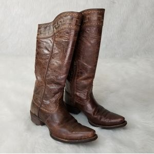 Ariat Brown Leather Below The Knees Cowboy Boots